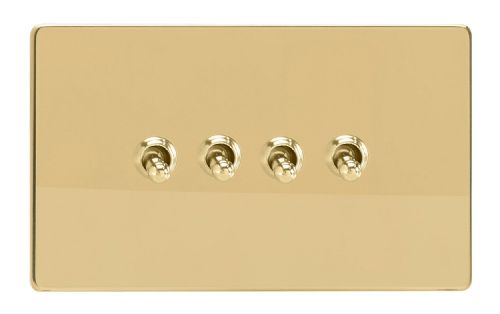 Varilight XDVT9S Screwless Polished Brass 4 Gang 10A 1 or 2 Way Toggle Light Switch